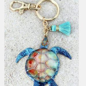 New Turtle Coastal Keychain w Tassel!